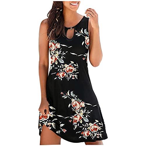 pamkyaemi Vestido de verano para mujer, corto, cuello redondo, estampado floral, suelto, para la playa, tiempo libre, para mujer, largo hasta la rodilla, elegante, vestido de noche Negro M