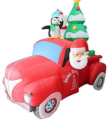 7 pies Gran Árbol de Navidad Santa Claus Inflables DIRIGIÓ Coche rojo de Papá Noel inflable con el árbol de navidad Pingüino Luces LED para la decoración del jardín de la yarda de la Navidad al aire l