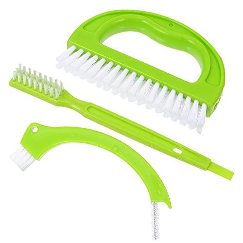 Angoily Juego de 3 Pinceles Limpiadores de Lechada Cepillo Limpiador de Juntas de Azulejos con Cerdas de Nailon para Lechada Suelos de Azulejos Baño Ducha (Verde)