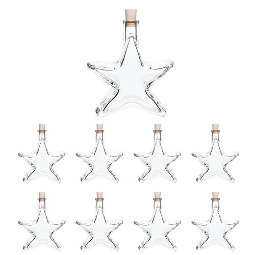 slkfactory, 8 bottiglie di vetro a forma di stella da 200 ml per liquore e acquavite, per Natale