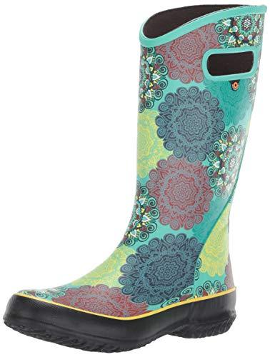 BOGS Women's Rainboot Mandala Print Waterproof Rain Boot, Mint Green Multi, 11
