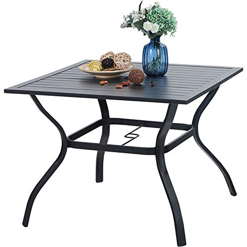 PHI VILLA 37 Inch Outdoor Dining Table Metal Steel Slat...