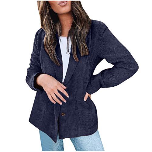 QIQIU Womens Lapel Open Voorvak Casual Office Mode Lange Mouw Vest Vest Losse pak jas S-XXL