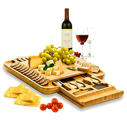 Cheese Board and Knife Set - Bamboo Wood Charcuterie Board Serving Platter with Knife Set, Hidden Slid-Out Drawer - Premium Gift for Wedding, Housewarming, Bridal Shower, Birthday