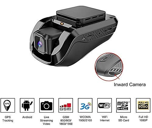 Price comparison product image Dash Cam Car Video Recorders Amacam AM-G10 with 3G Live Video Streaming to Your Phone Front Facing & Internal Camera Views GPS Vehicle Tracker in Real Time from Any Location. 16GB Card Included.