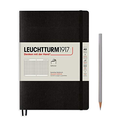 LEUCHTTURM1917 310337 Notizbuch Medium (A5), Softcover, 123 nummerierte Seiten, Schwarz, Kariert