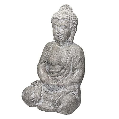 ECD Germany Estatua de Buda Sentado Figura de Piedra Artificial Poliresina 47cm Gris Escultura Estilo Asiatico Figurilla Decorativa Feng Shui Resistente a la Intemperie Adorno para el Hogar y Jardí