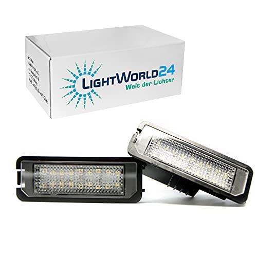 LIGHTWORLD24 LED Kennzeichenbeleuchtung Glühbirnen Nummernschildbeleuchtung Lampe 18 x SMD mit CanBus Fehlerfrei 6000K Xenon kaltweiß, 2 Stück, Für G-O-L-F 4 5 6 7