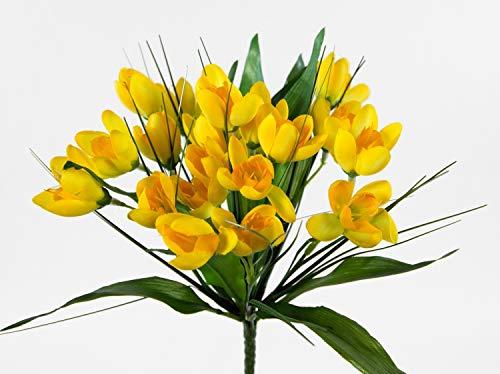 Seidenblumen Roß Krokusbusch 28cm gelb PM Kunstpflanzen Kunstblumen künstlicher Crocus Krokus Blumen Pflanzen