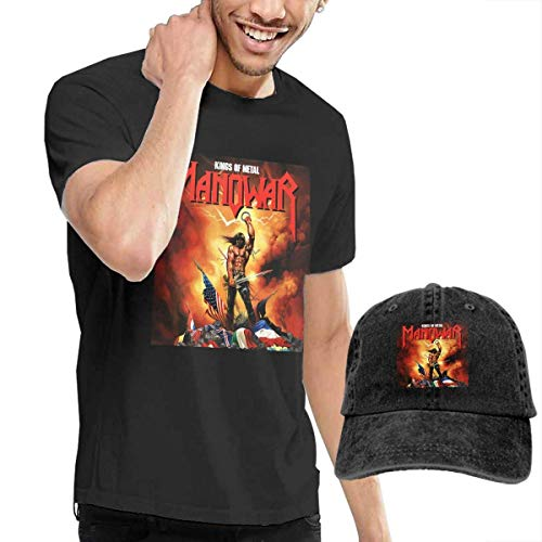AYYUCY Camisetas y Tops Hombre Polos y Camisas, Dingtai Manowar-Kings of Metal Men's Short Sleeve T Shirt and Adult Washed Cowboy Hat
