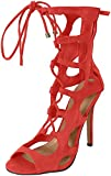 Breckelles Roma-51 Coral Faux Suede Lace Up Cut-Out Gladiator Stiletto Sandal (7)