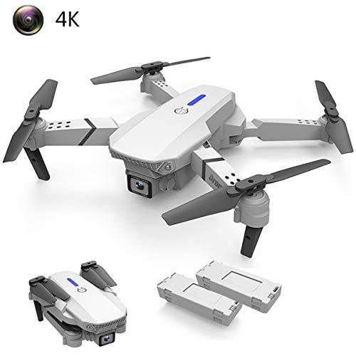 APJS Drone con Cámara 4K HD de WiFi 110° Gran Angular Ajustable FPV RC Quadcopter Drones Plegables Flying Toys Duración Batería 30 Minutos para Adultos Drone con Luces LED giratorias,Blanco