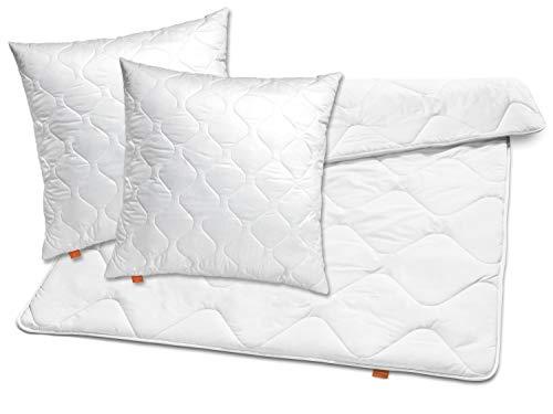 sleepling 196148 Bettwaren-Set Basic 120 2 x Kopfkissen 80 x 80 cm + Ganzjahresdecke 200 x 200 cm Mikrofaser medium, weiß