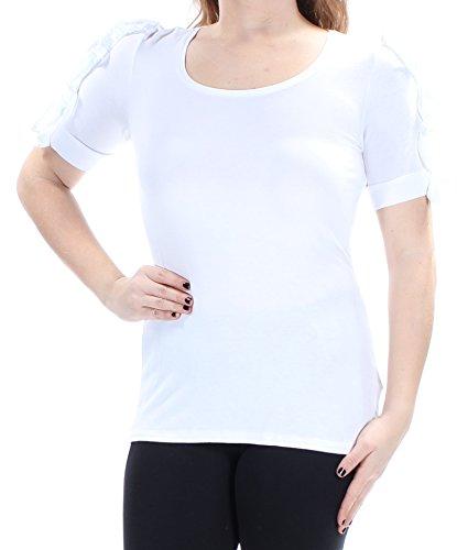 INC International Concepts Women's Ruffle-Sleeve Casual Top White Medium