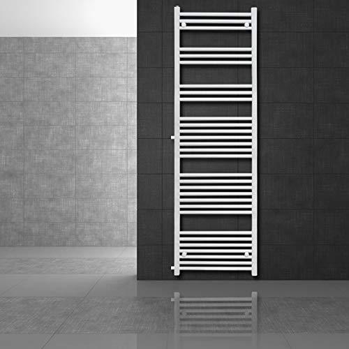 ECD Germany Renovierungsheizkörper Austausch - 500 x 1800 mm - Weiß - gerade mit Seitenanschluss 900mm - Badheizkörper Heizkörper Handtuchwärmer Handtuchtrockner Designheizkörper
