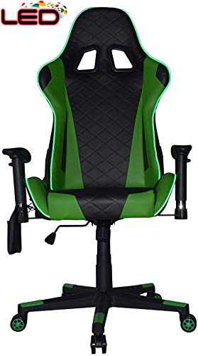 Turismo Racing souverain Série Jeu Chaise Ergonomique Gaming Seau Support Lombaire Executive Computer. Nomic Chaise Ancora-Green-LED