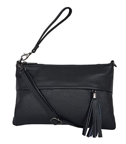 zarolo Damen Tasche, kleine Umhängetasche aus echtem Leder, Cross Body, Schultertasche, Leder Clutch, Leder Abendtasche, italienische Handarbeit