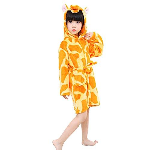 Mystery&Melody Kinder Giraffe Bademantel Flanell mit Kapuze Pyjamas Cosplay Kostüme Unisex Tiere Kleid
