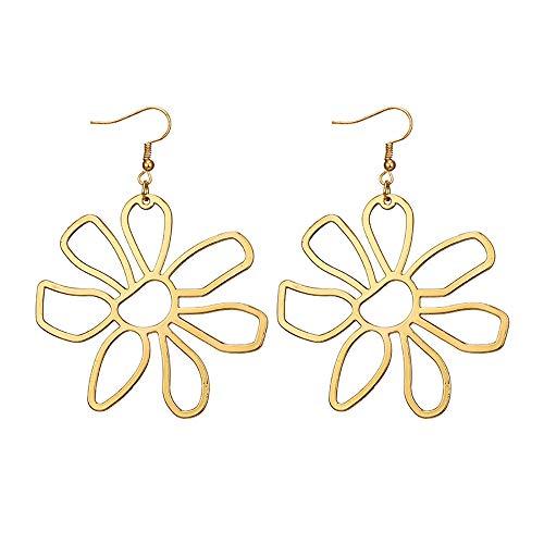 FAMILIZO Pendientes De Flores De PéTalos De AleacióN Multicolores Huecos De Moda Simple Y Fresca Para Mujer (Oro)