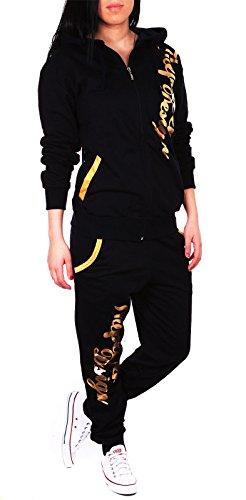 Violento Kinder Mädchen Jogginganzug Jogging Hose Jacke Sportanzug Sporthose Fitness Hoodie schwarz/Gold XS 164
