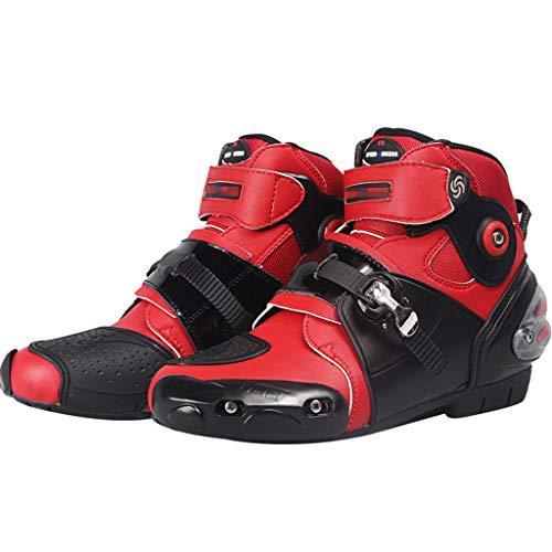 YMXYMM Botas de Moto para Hombre Bota Deportiva de Motocross blindada de Alta Resistencia Botas de Carretera Zapatos de tacón cómodos Zapatos de Tobillo Cortos Impermeables Botas de piloto,Red-45