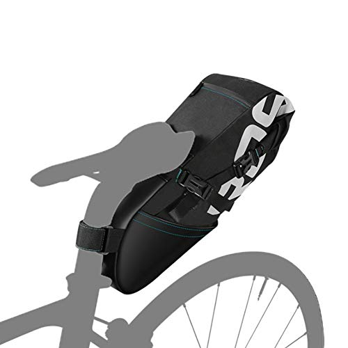Bolsa de sillín de Bicicleta Sawpy - 8 / 12L Impermeable Reflectante de Gran Capacidad Plegable Cola Trasera Bolsa Ciclismo MTB Maletero alforja Negro