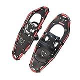 ALPIDEX Raquetas Nieve Aluminio Bolsa Incluida Bastones Carbono Opcional Hombre Mujer, Color:Black/Red 25