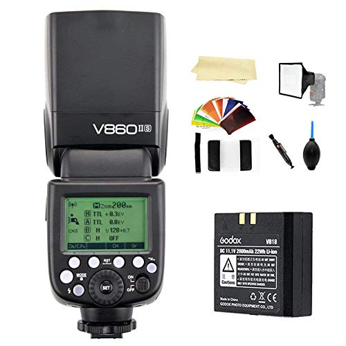 Godox V860II-S TTL 2.4G High Speed Sync 1/8000s GN60 Li-ion Battery Camera Flash Speedlite Light Compatible for Sony a7RIII a7RII a7R a58 a99 ILCE6000L a77II RX10 a9