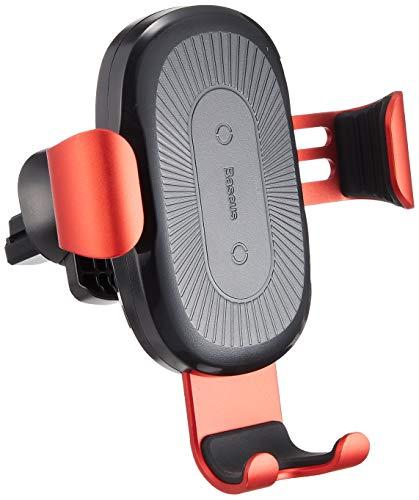 Baseus(ベースアス) 車載用 スマートフォンホルダー ワイヤレス充電器 スマートフォンスタンド 置くだけ充電 エアコン吹き出し口 簡単取付 急速充電 ケーブル付き Qi 規格対応 iPhone X Android (レッド) B-70770