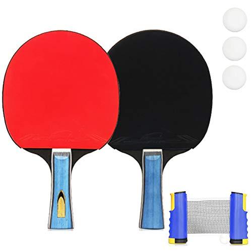 LHR Juego De Tenis De Mesa Retráctil, Juego De Paleta De Ping Pong con 2 Palos Y 4 Pelotas De Ping Pong Y 1 Red para Entrenamiento Físico De Niños Adultos