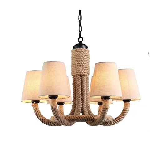 ZCCLCH Norte de Europa Retro Creativo de la lámpara de América Rural Cuerda del cáñamo araña de Hierro Pastoral Personalidad Dormitorio Dormitorio Living Bar Lámparas de Habitaciones