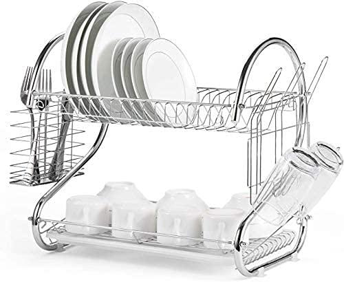 Escurridor para platos de 2 niveles con bandeja de goteo