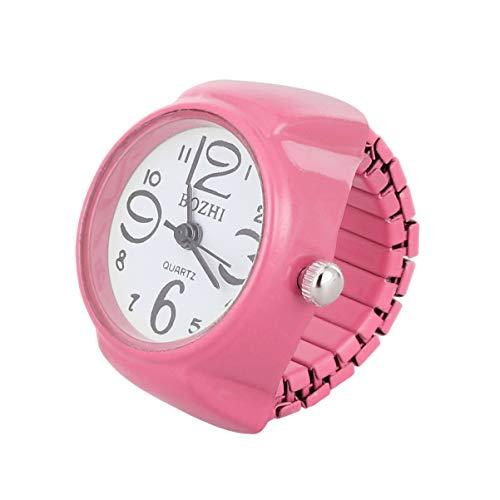 Hemobllo anello unisex orologio da polso moda tondo elastico orologio anello gioielli orologio al quarzo anello per regalo donna regalo uomo (rosa)