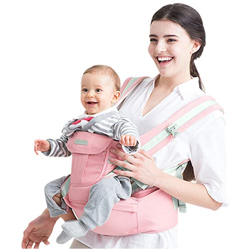 Baby - Carrier, Maydolly Adjustable 6-in-1 Soft Infant Carrier with Waist Stool, One Size Fit All Season Perfect for Newborn, Infant and Toddler, Pink