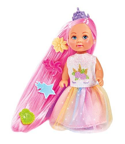 Simba Evi Love Rainbow Princess / Puppe als Regenbogenprinzessin mit Langen Haaren / 4 Haarclips und Bürste / 12cm / Für Kinder ab 3 Jahren, 105733505
