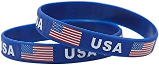 Astra Gourmet 12pcs American Flag Bracelets Patriotic Silicone Wristband - Ideal Party Favors for Fourth of July Parades, 4th of July Parties, BBQ's, Picnics and Family Events