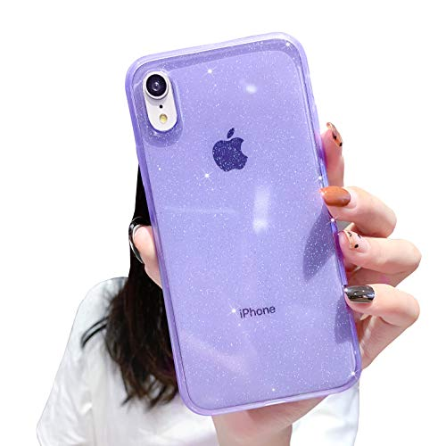 Anynve Compatible with iPhone XR Case Clear Glitter,Sparkle Bling Case [ Anti-Shock Matte Edge Bumper Design] Cute Slim Soft Silicone Gel Cover Phone Case 6.1