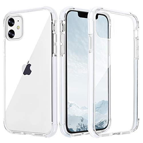 OHNICE iPhone 11 Case Clear Crystal Shockproof Cell Phone Case with Hard PC Back, TPU Ultra Hybrid Soft Bumper Clear Protective Cover for iPhone 11 6.1 inch
