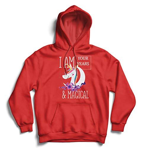 lepni.me Sudadera con Capucha Soy un Regalo de cumpleaños mágico de Unicornio de los años de Costumbre (Medium Rojo Multicolor)