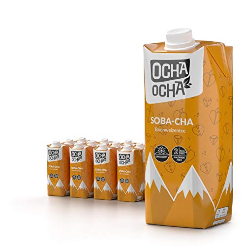 Ocha Ocha - 12er Pack Soba-cha - Ungesüßter Eistee - Gerösteter Buchweizentee - zuckerfrei, glutenfrei, frisch gebrüht (12x500ml)