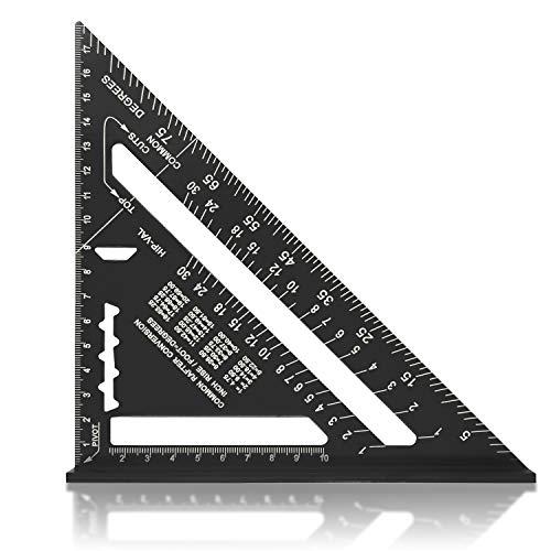 Escuadra de Carpintería Métrico 7 Pulgadas,Aleación de Aluminio,Regla Triangular Herramienta de medición para Carpintero (negro)