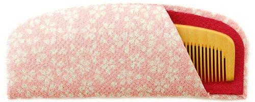 つげ櫛解櫛4寸国産さつまつげケース付(ピンク)