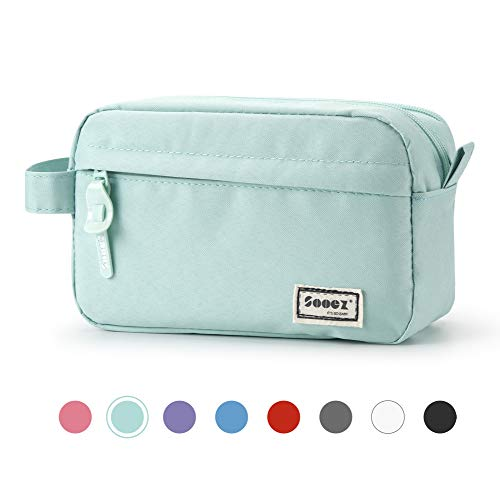 Sooez High Capacity Pen Case, Durable Pencil Bag Stationery Zipper Pouch, Portable Journaling Supplies with Easy Grip Handle & Loop, Asthetic Supply for School Girls Teens Adults, Mint Green