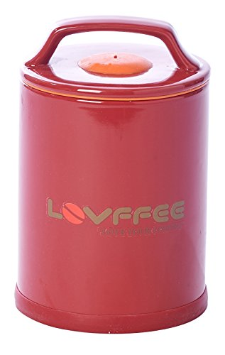LOVFFEE Red Ceramic Premium Coffee Canister (with Coffee Scoop): Holds 1 Pound Whole Coffee Beans or Ground Coffee in Patented Airtight Vacuum Sealed Coffee Storage Container