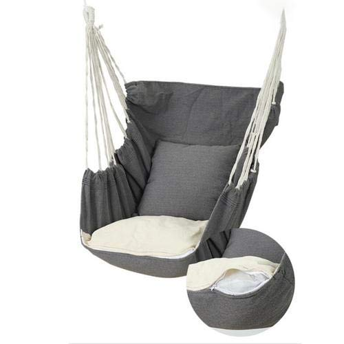 Hammock Swing Chair, with 2 Extra Padded Cushions,Cotton Canvas Soft Cushioned Rope Hanging Swing Set, Garden Hanging Rope Hammock Chair Porch Swing Seat for Yard Porch Patio