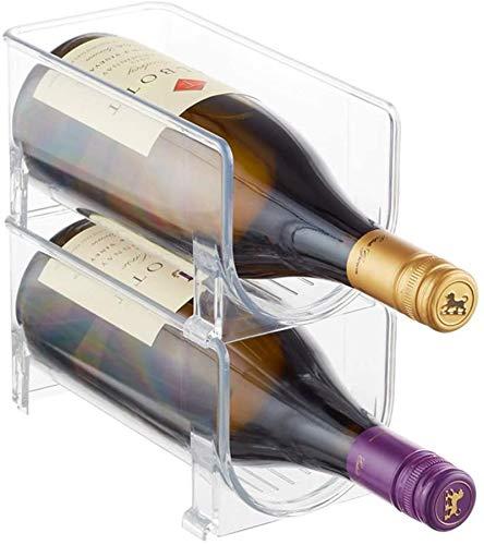 TUHFG Botellero rústico apilable, Estante del Vino de la Botella de Vino Frigorífico apilable de Almacenamiento en Rack for el gabinete de Cocina, encimeras, 2 Botellas