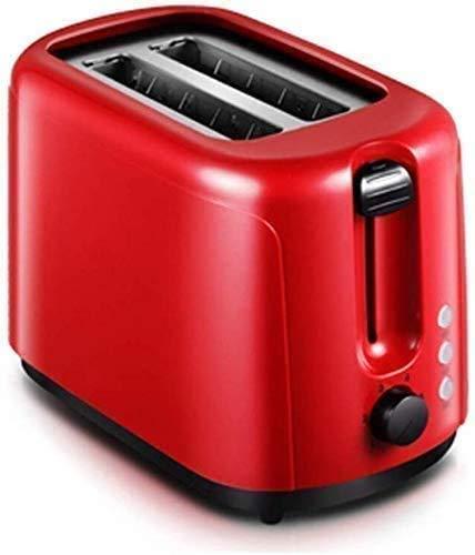 ZJN-JN Breadmakers 750W Mini Tostadora de 2 rebanadas desayuno extra ancho de la máquina tragamonedas Tostadores de descongelación de recalentamiento 6 Modos de lxhff Browning Red de Control Electrodo