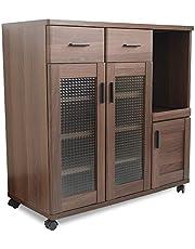 moca company Roundear キッチンカウンター レンジ台 ロータイプ 食器棚 キャスター付き 木目調