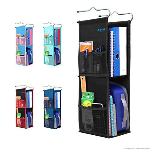 Abra Company 2 Shelf Hanging Locker Organizer for School, Gym, Work, Storage - Upgraded Eco-Friendly Fabric Healthy for Children (Pure Black)