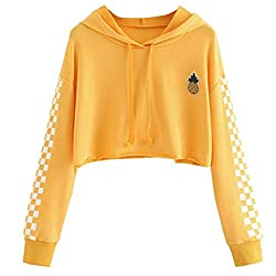♥ Long sleeve, pineapple embroidered, white plaid patterns printed on sleeves, drawstring hoodie, cropped length, plus size. ♥ It is fit for teens girls, juniors or petites, teenager, ladies, college students, women. ♥ Pullover closure, crop top leng...